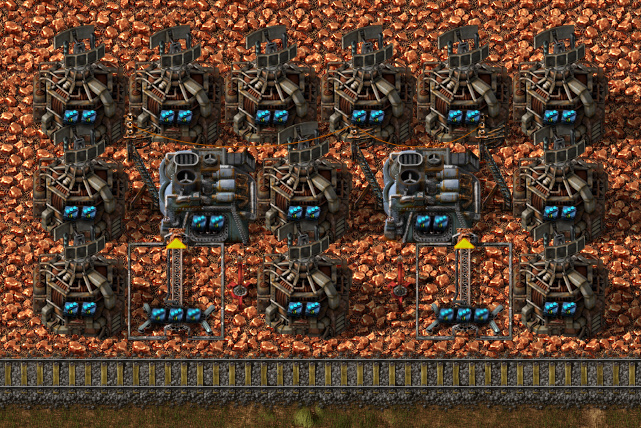 Factorio forums view topic the most ups efficient mining note the inserter runs at 99 capacity which hurts its ability to empty a buffer when the train moves image blueprint 3 malvernweather Images